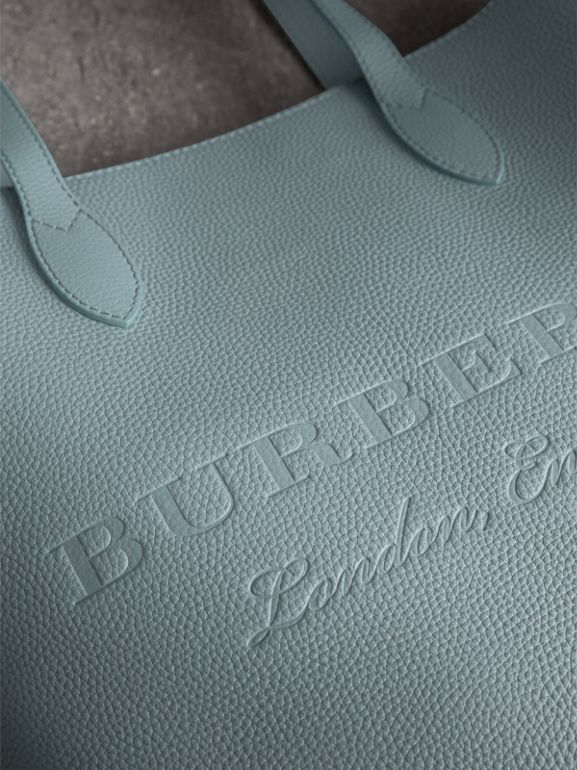 Embossed Leather Tote in Dusty Teal Blue | Burberry United Kingdom - cell image 1
