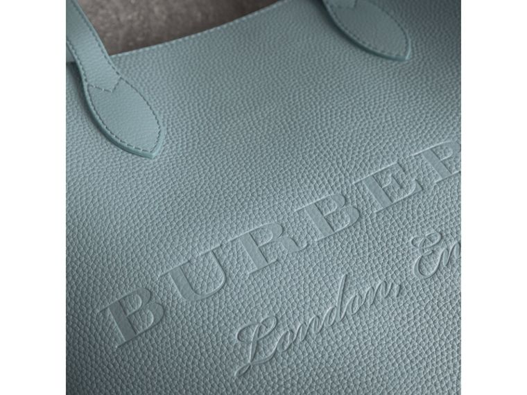 Embossed Leather Tote in Dusty Teal Blue | Burberry - cell image 1