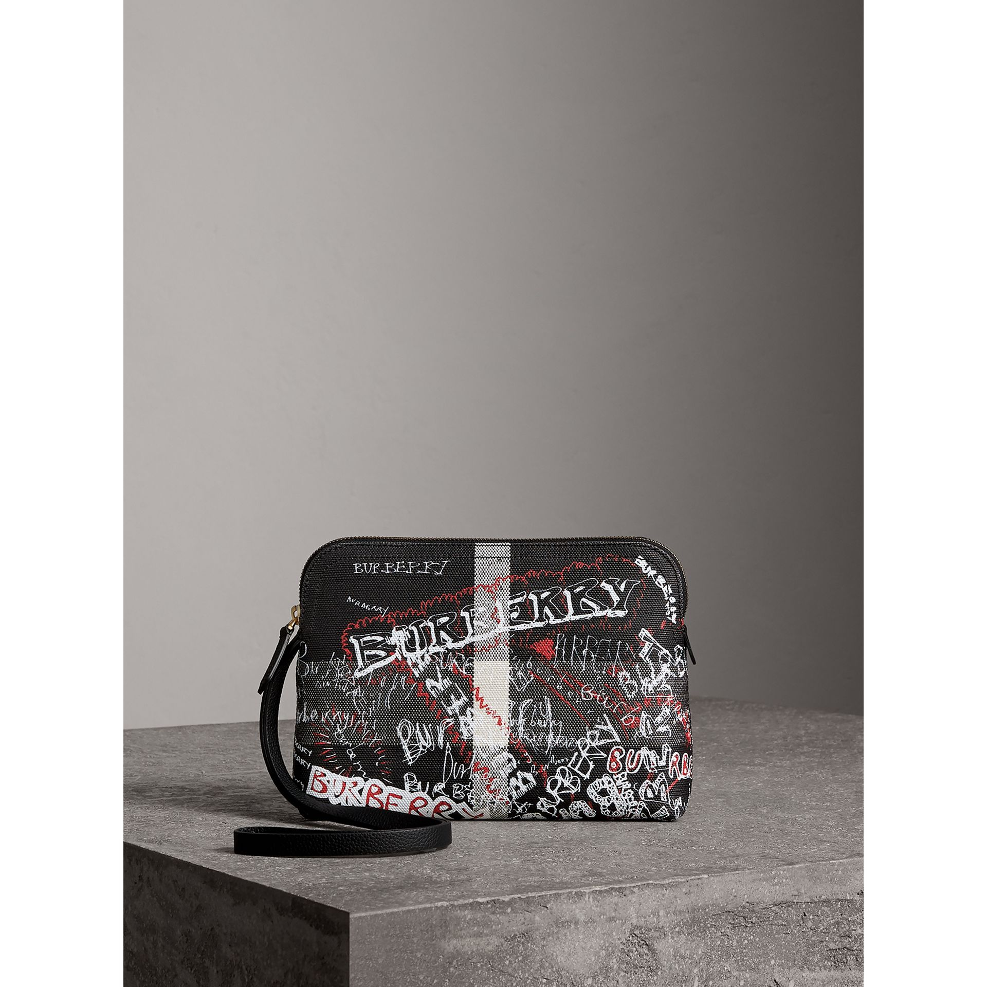 Large Zip-top Doodle Print Coated Canvas Check Pouch in Black/white - Women | Burberry United Kingdom - gallery image 0