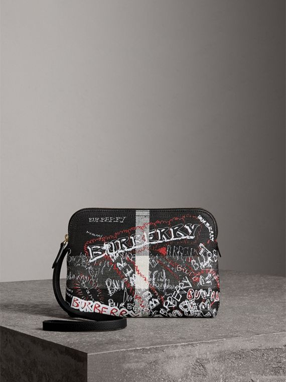 Large Zip-top Doodle Print Coated Canvas Check Pouch in Black/white
