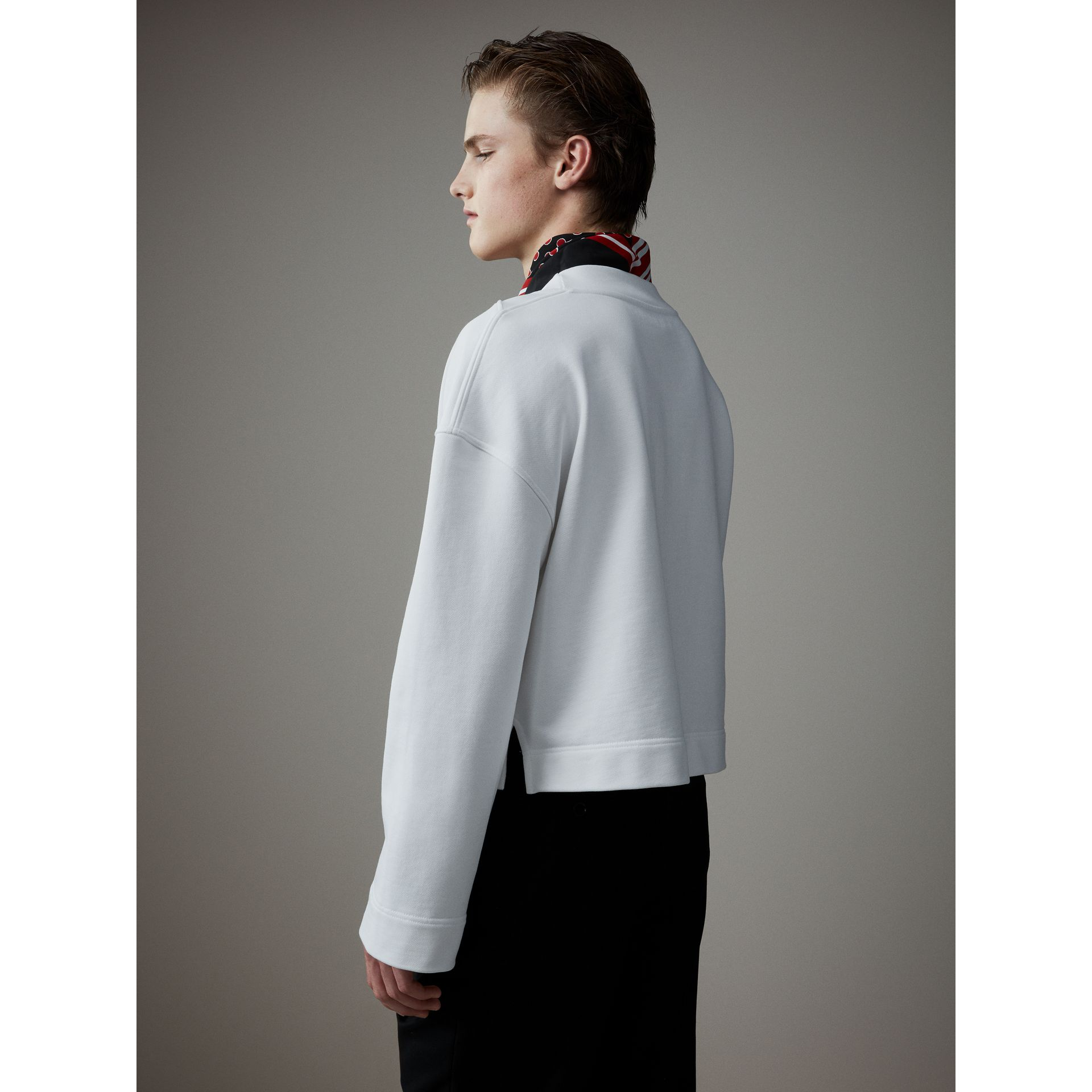 Cotton Cropped Sweatshirt with Crystal Brooch in Optic White - Men | Burberry United Kingdom - gallery image 4