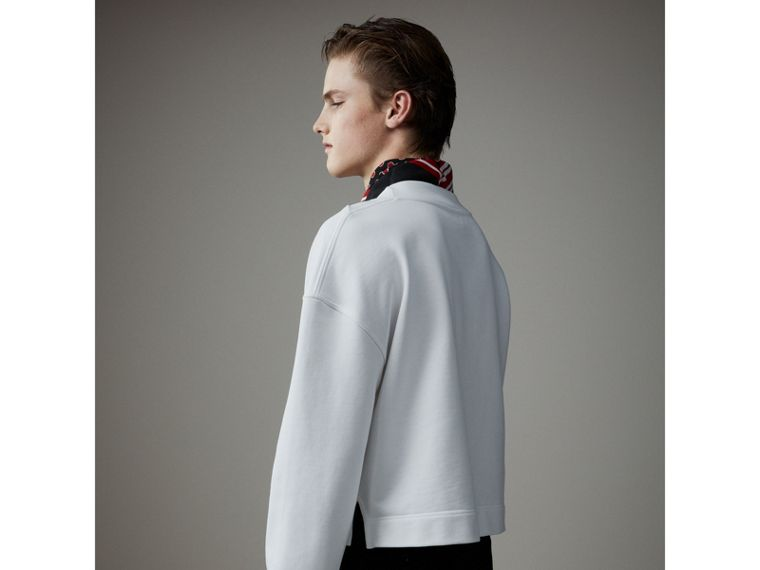 Cotton Cropped Sweatshirt with Crystal Brooch in Optic White - Men | Burberry Australia - cell image 4