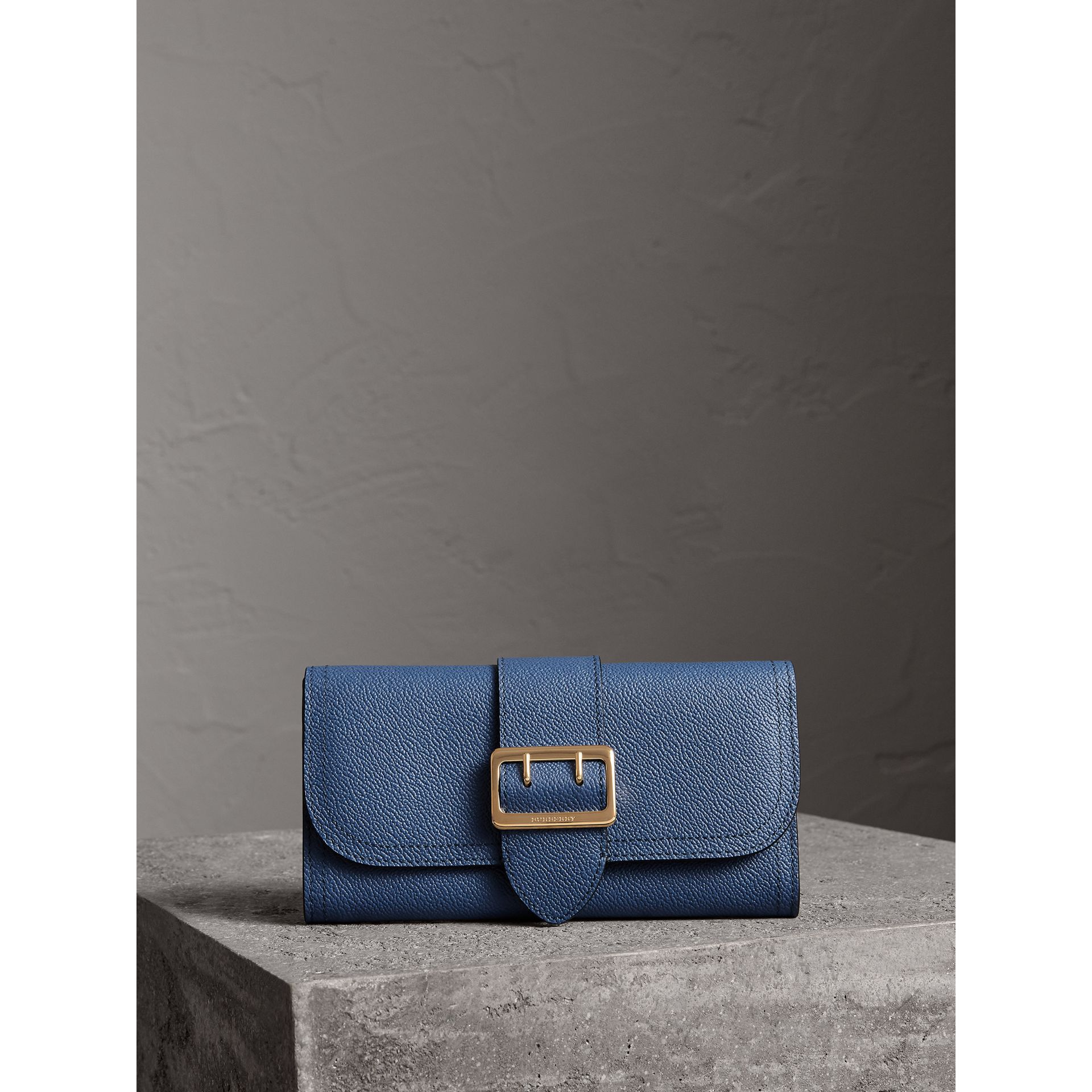 Textured Leather Continental Wallet in Steel Blue - Women | Burberry - gallery image 5