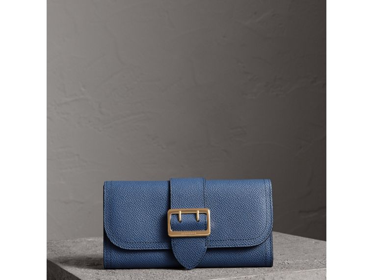 Textured Leather Continental Wallet in Steel Blue - Women | Burberry United Kingdom - cell image 4