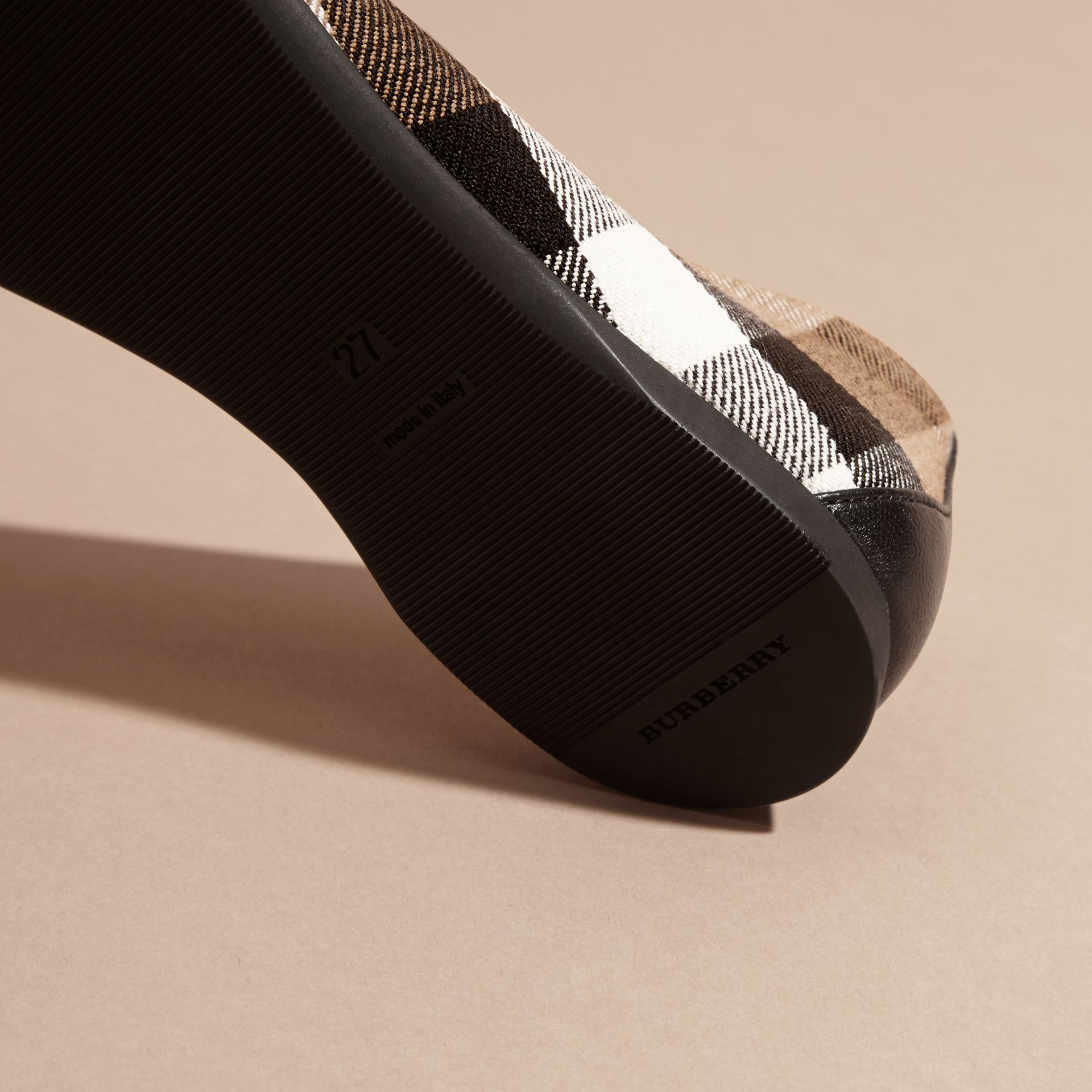 Leather and House Check Ballerinas in Black - Girl | Burberry Australia - gallery image 2
