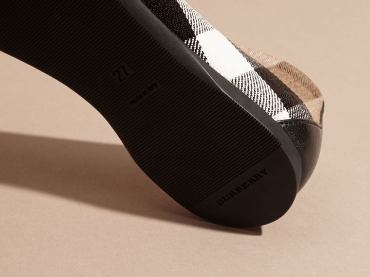 Leather and House Check Ballerinas in Black - Girl | Burberry Australia - cell image 1