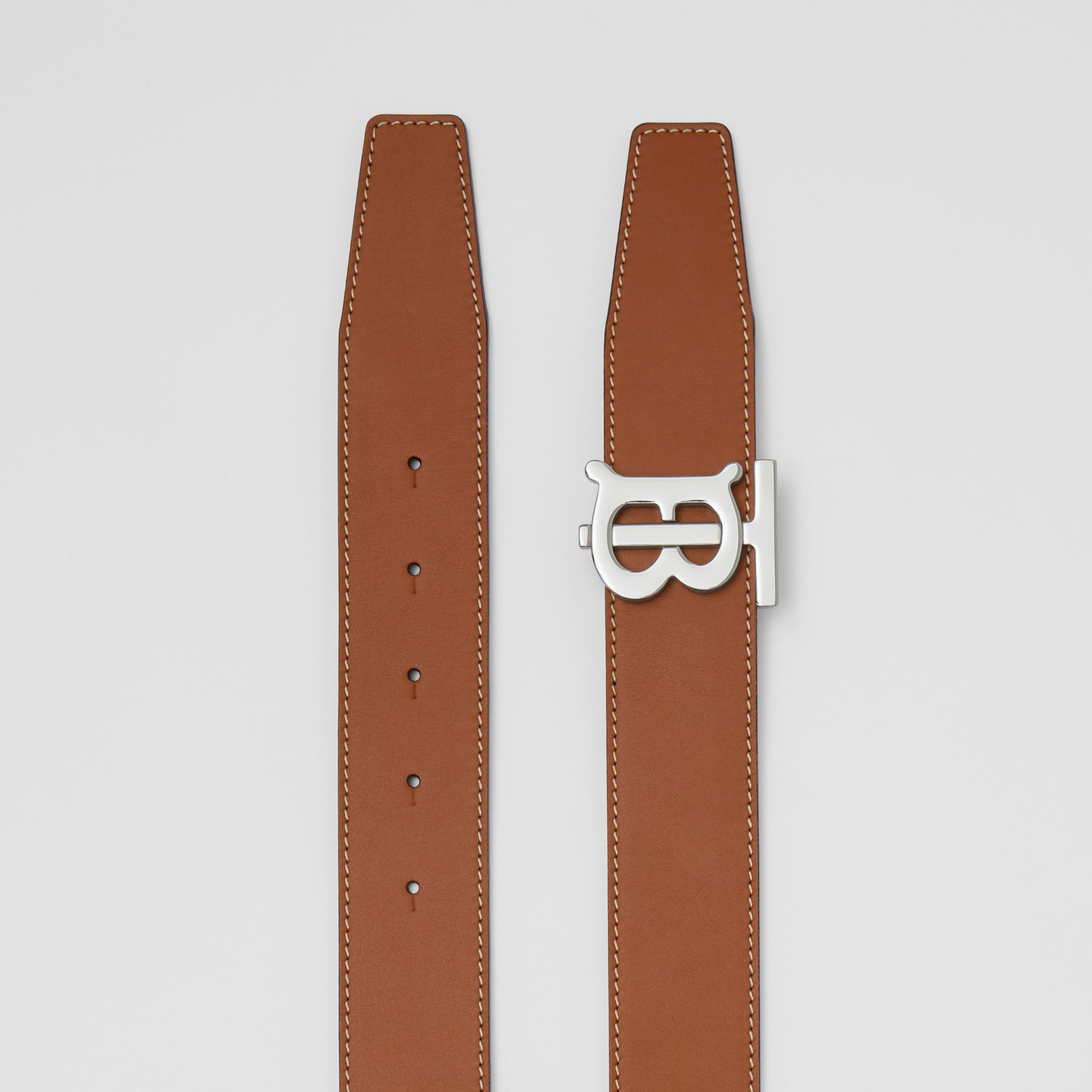 Reversible Monogram Motif Leather Belt in Tan/black - Men | Burberry Australia - gallery image 6