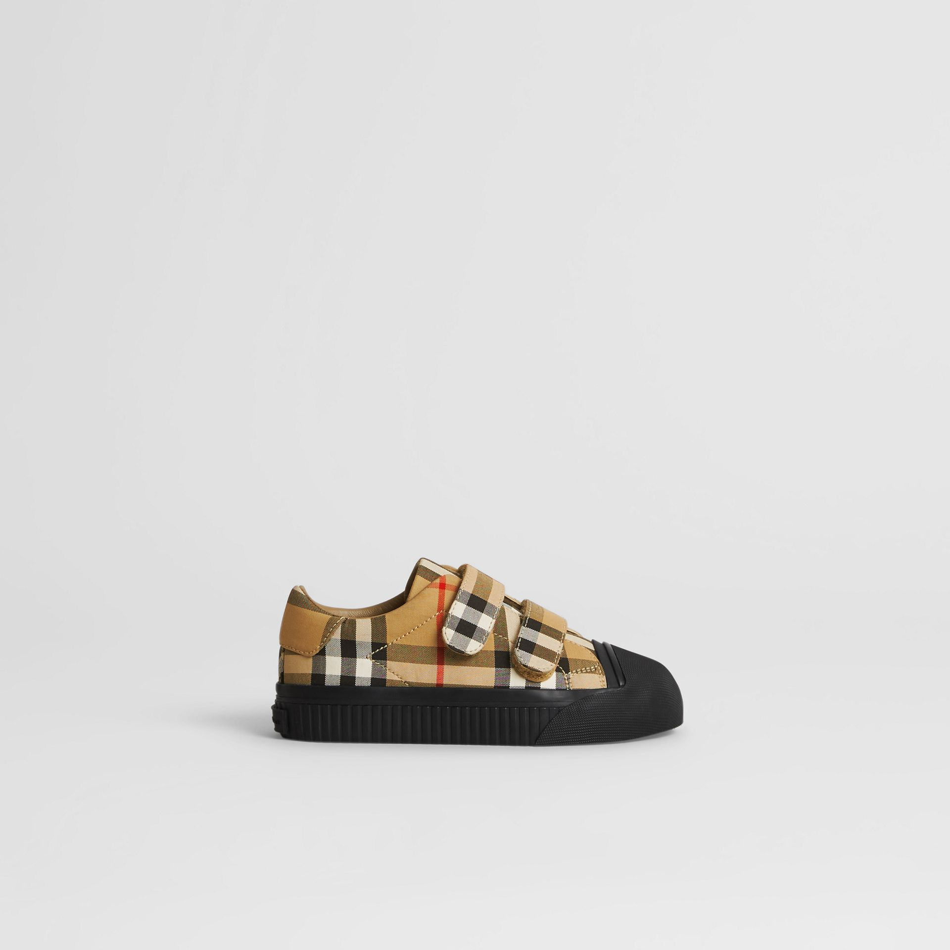 Vintage Check and Leather Sneakers in Antique Yellow/black | Burberry Australia - gallery image 3
