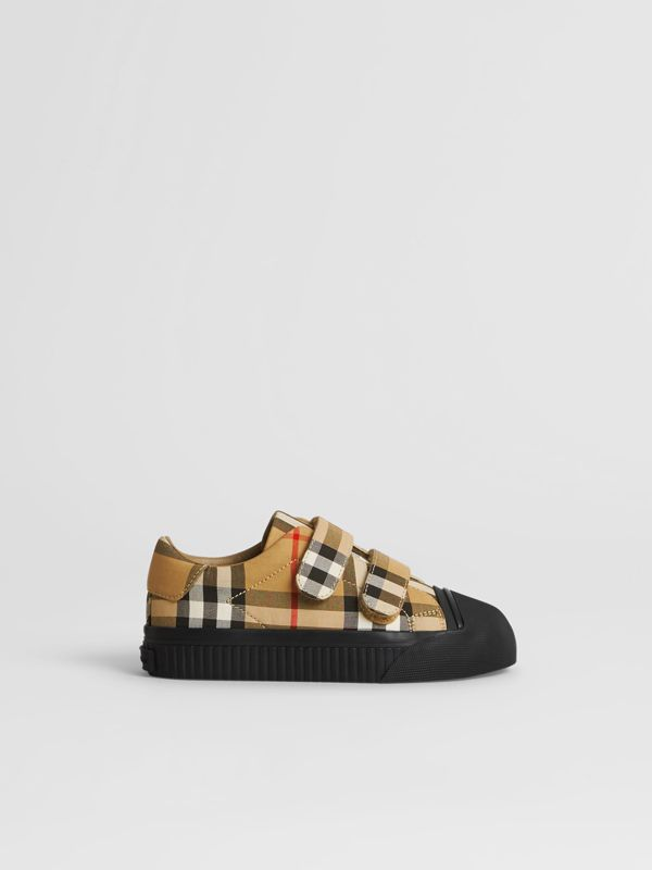 Vintage Check and Leather Sneakers in Antique Yellow/black | Burberry United Kingdom - cell image 3