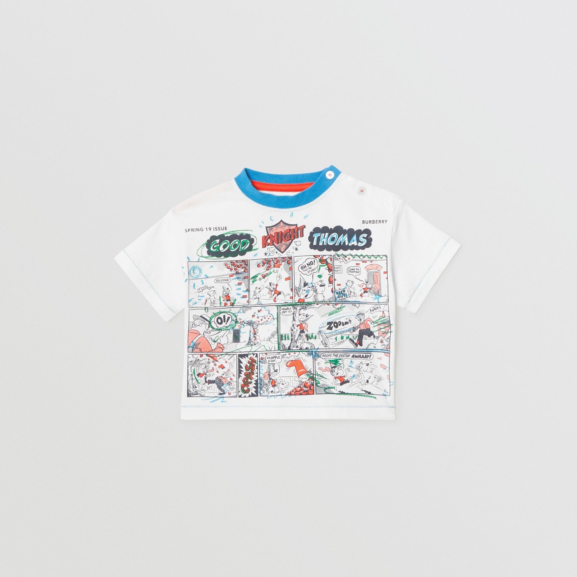 Comic Strip Print Cotton T-shirt in Natural White - Children | Burberry United Kingdom - gallery image 0