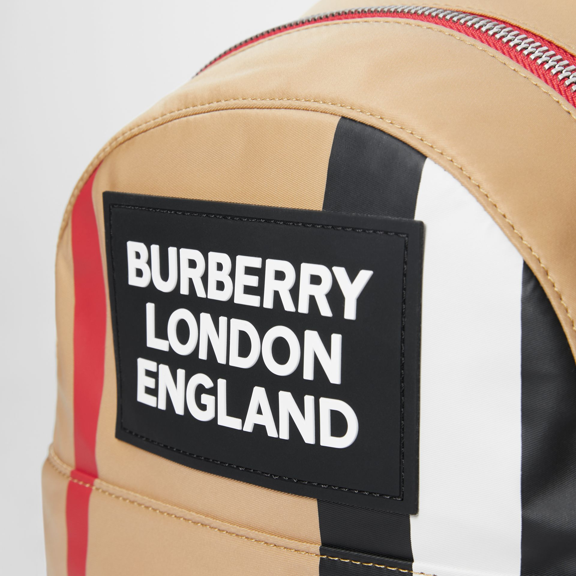 Logo Detail Icon Stripe Nylon Backpack in Archive Beige - Children | Burberry - gallery image 1
