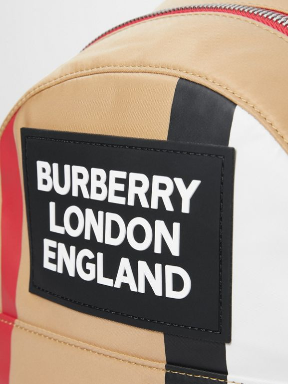 Logo Detail Icon Stripe Nylon Backpack in Archive Beige - Children | Burberry - cell image 1