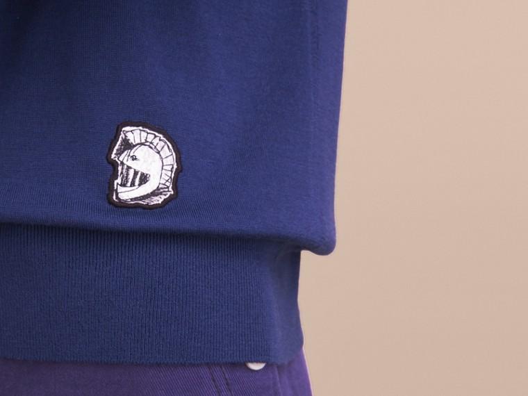 Pallas Helmet Motif Merino Wool V-neck Sweater in Indigo Blue - Men | Burberry Singapore - cell image 4