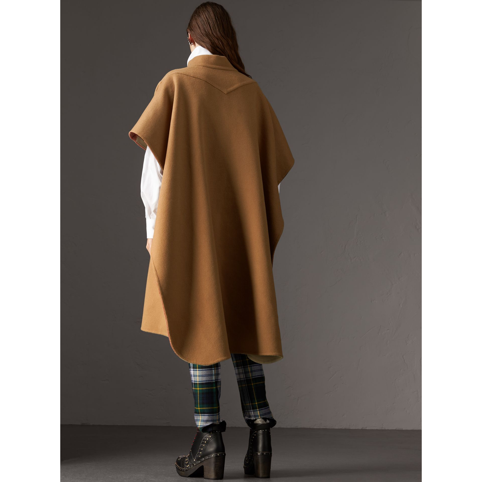 Reversible Check Oversized Poncho in Camel - Women | Burberry Australia - gallery image 2