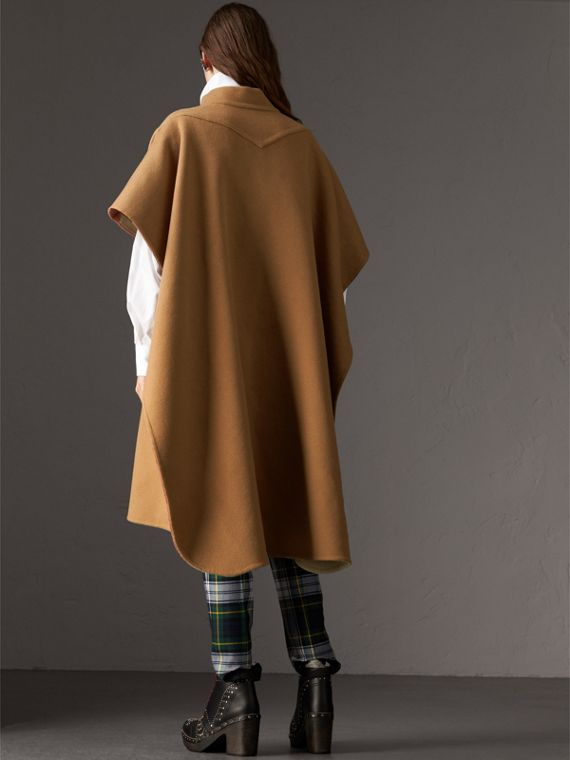 Reversible Check Oversized Poncho in Camel - Women | Burberry Australia - cell image 2
