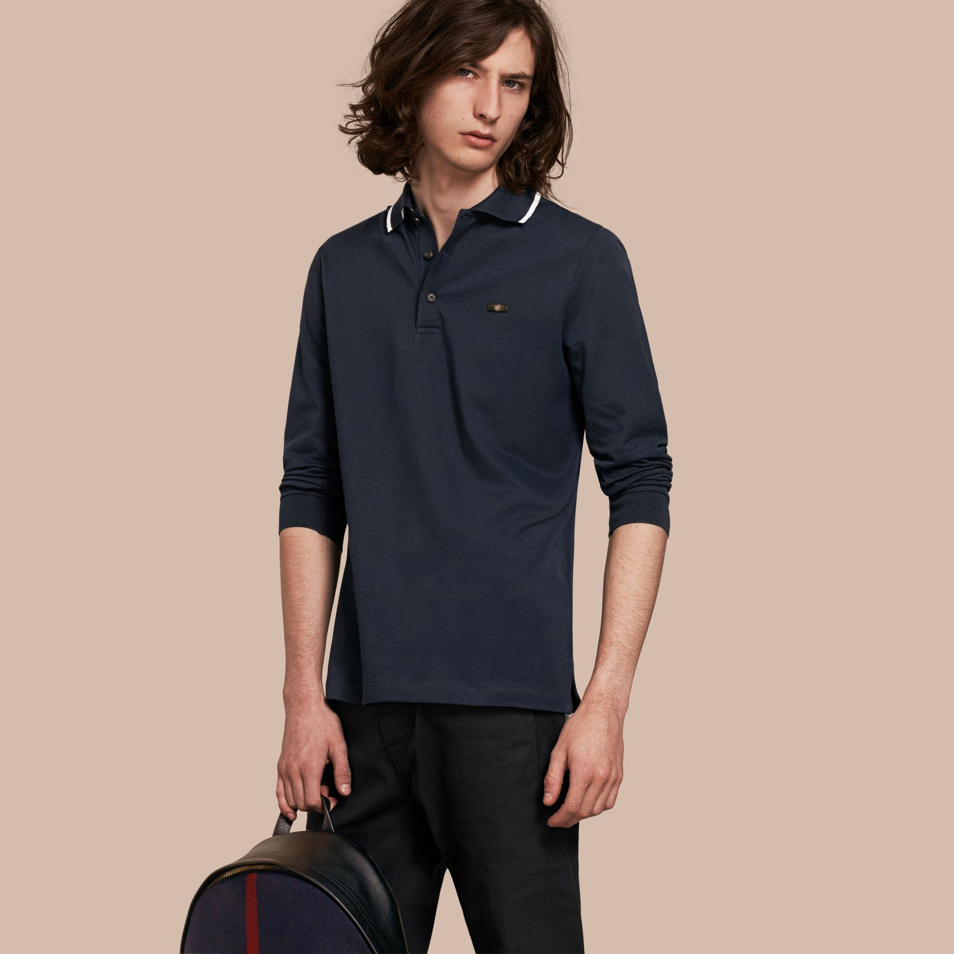 Navy Long-sleeved Tipped Cotton Piqué Polo Shirt Navy - gallery image 1
