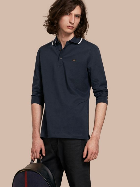 Long-sleeved Tipped Cotton Piqué Polo Shirt Navy