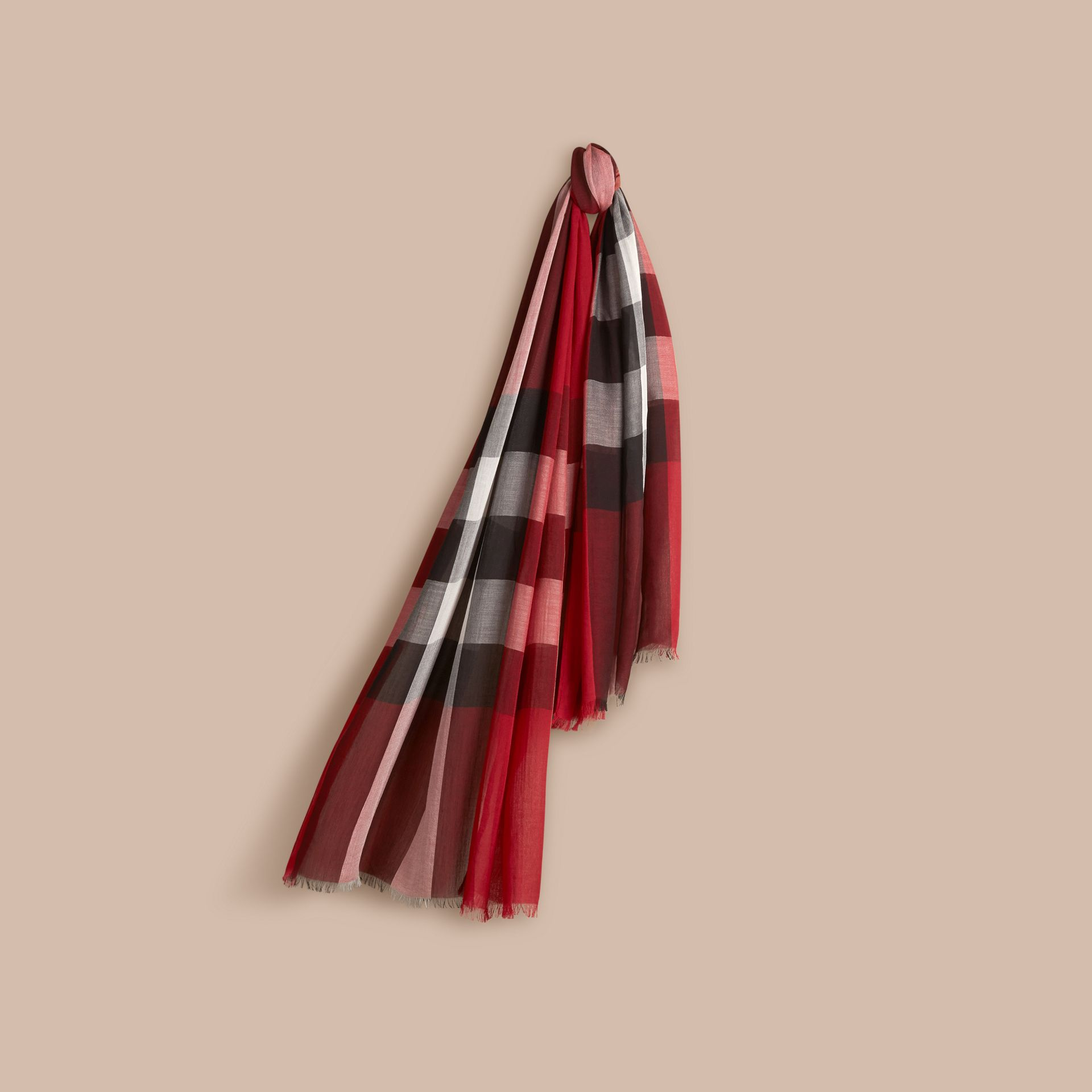 Parade red Check Modal Cashmere and Silk Scarf Parade Red - gallery image 1
