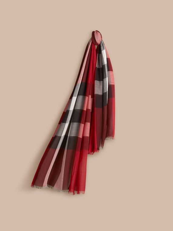 Check Modal Cashmere and Silk Scarf in Parade Red