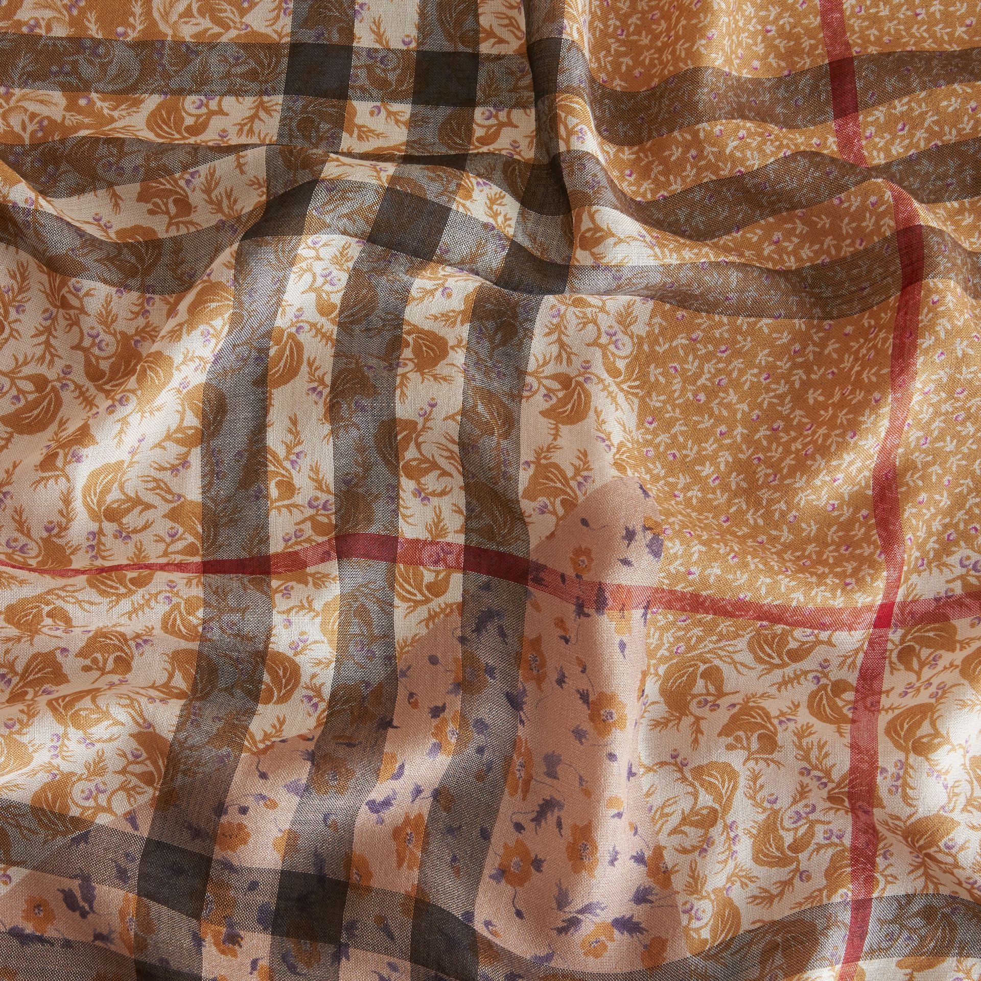 Patchwork Floral Check Wool Silk Scarf in Pale Ochre - gallery image 2