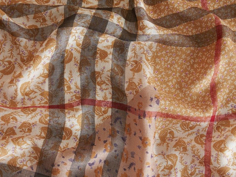 Patchwork Floral Check Wool Silk Scarf in Pale Ochre - cell image 1