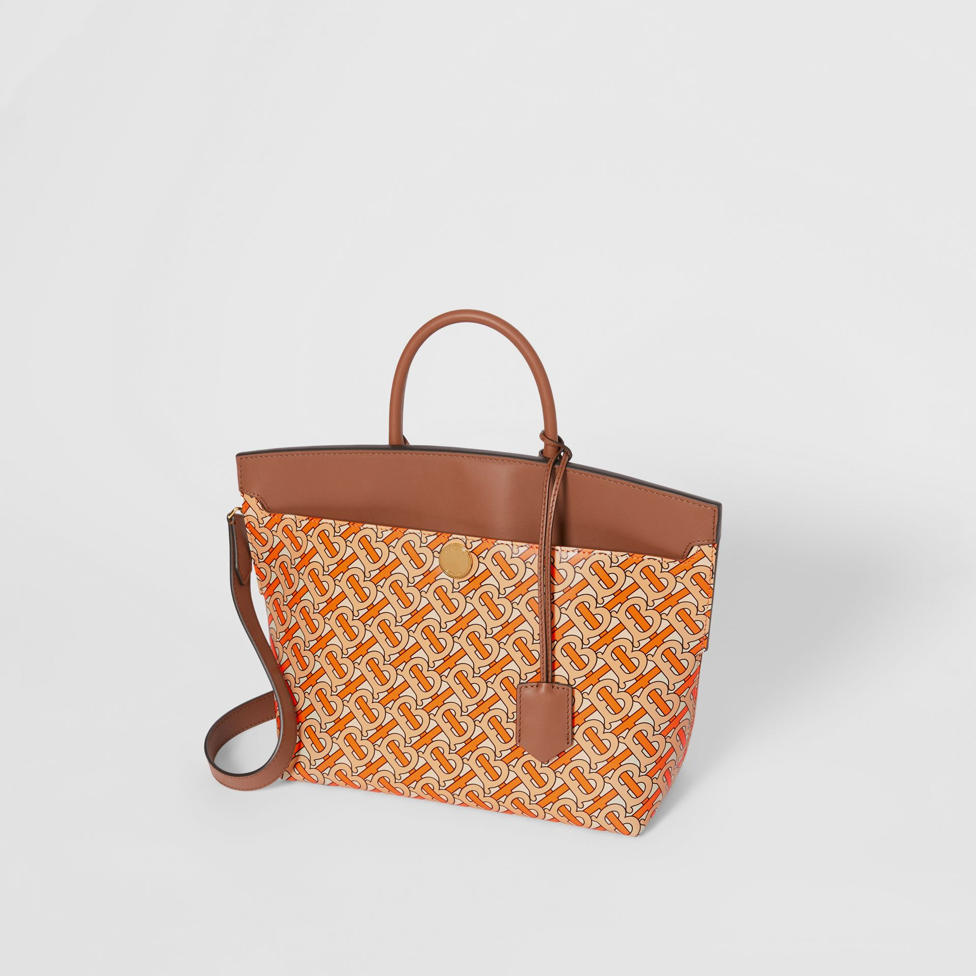 Small Monogram Print Leather Society Top Handle Bag in Bright Orange - Women | Burberry - gallery image 3