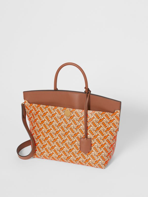 Small Monogram Print Leather Society Top Handle Bag in Bright Orange - Women | Burberry - cell image 3