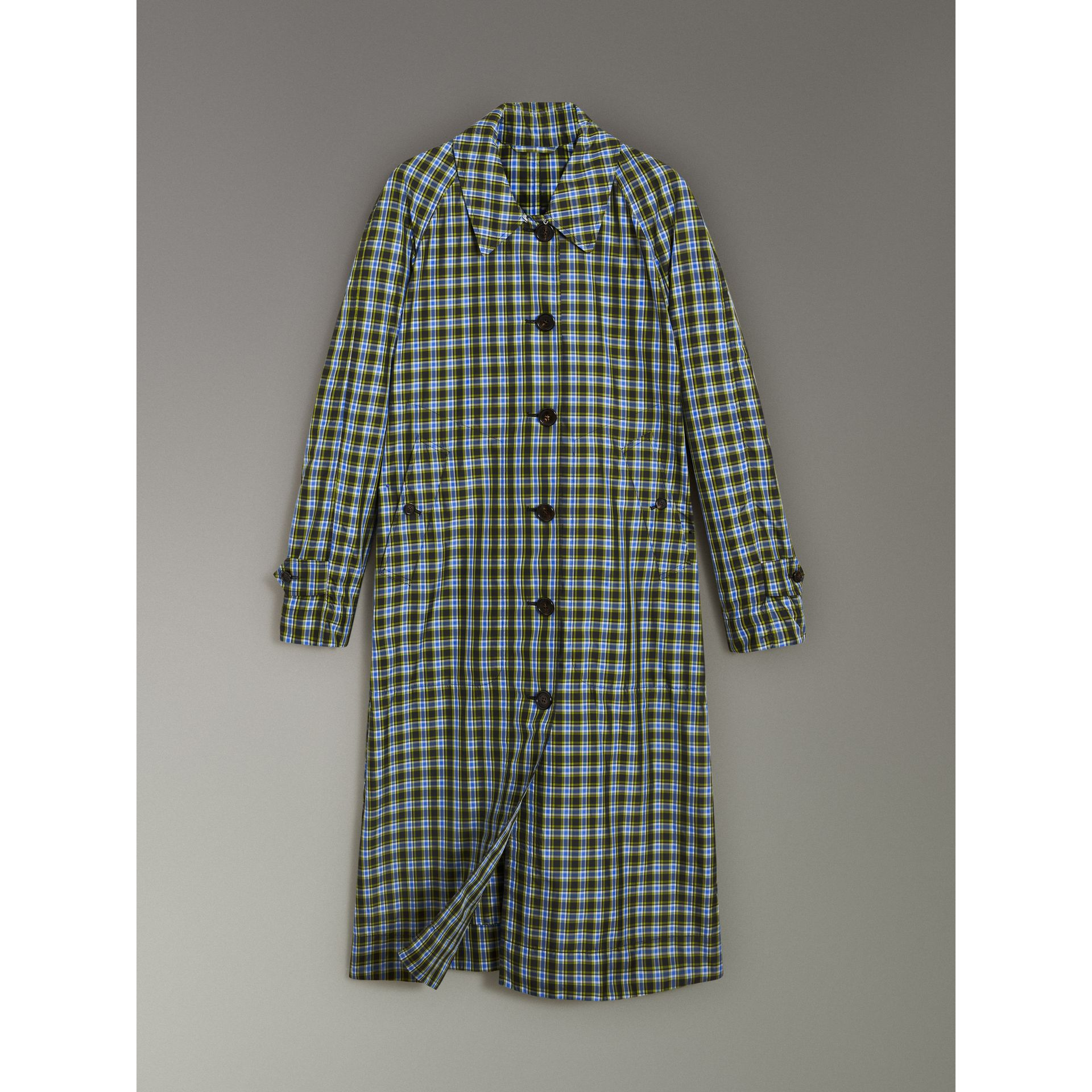 Lightweight Check Extra-long Car Coat in Azure Blue - Women | Burberry United Kingdom - gallery image 3