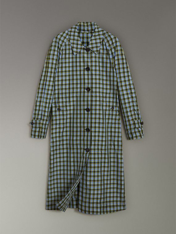 Lightweight Check Extra-long Car Coat in Azure Blue - Women | Burberry - cell image 3