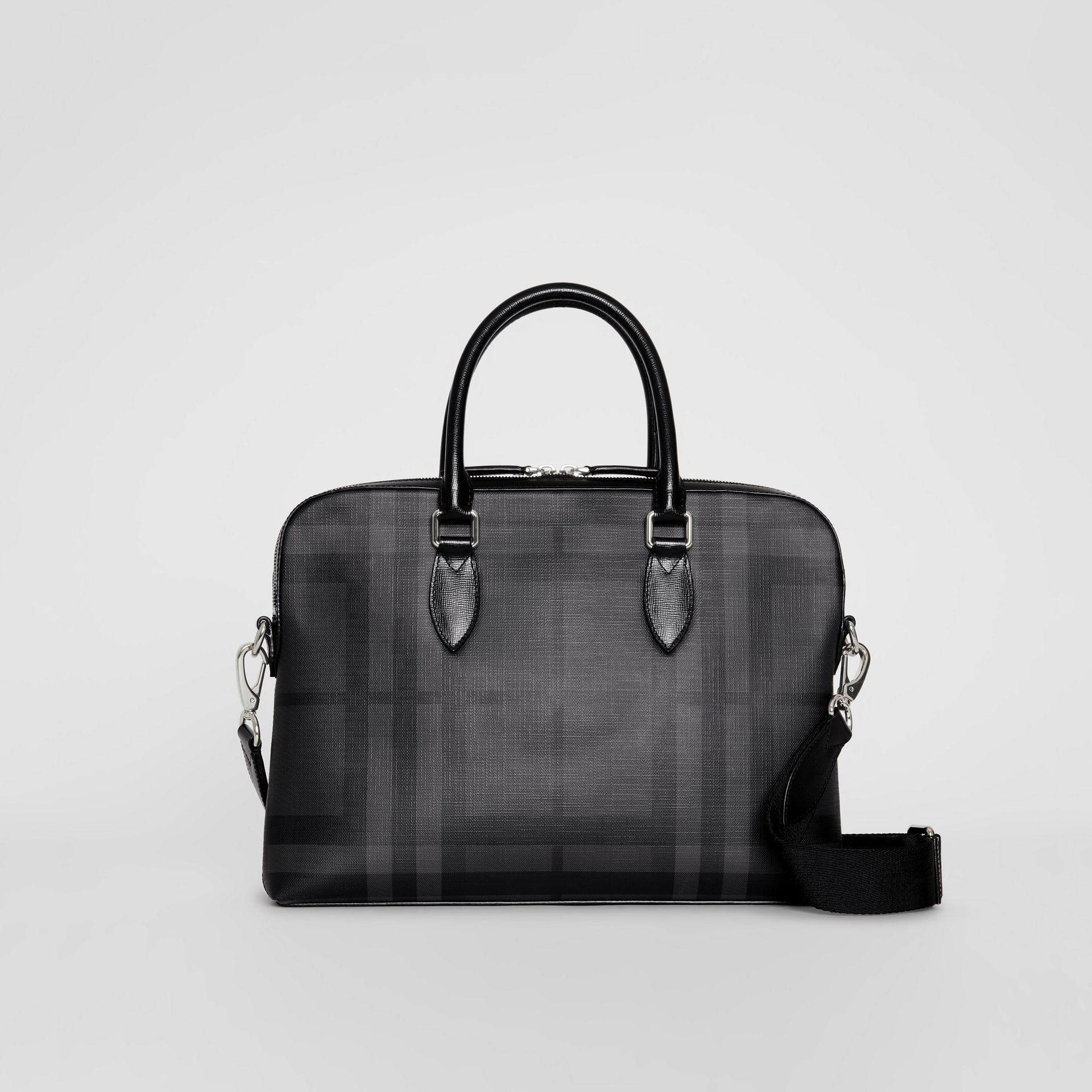 Medium Leather Trim London Check Briefcase in Charcoal/black - Men | Burberry Australia - gallery image 0