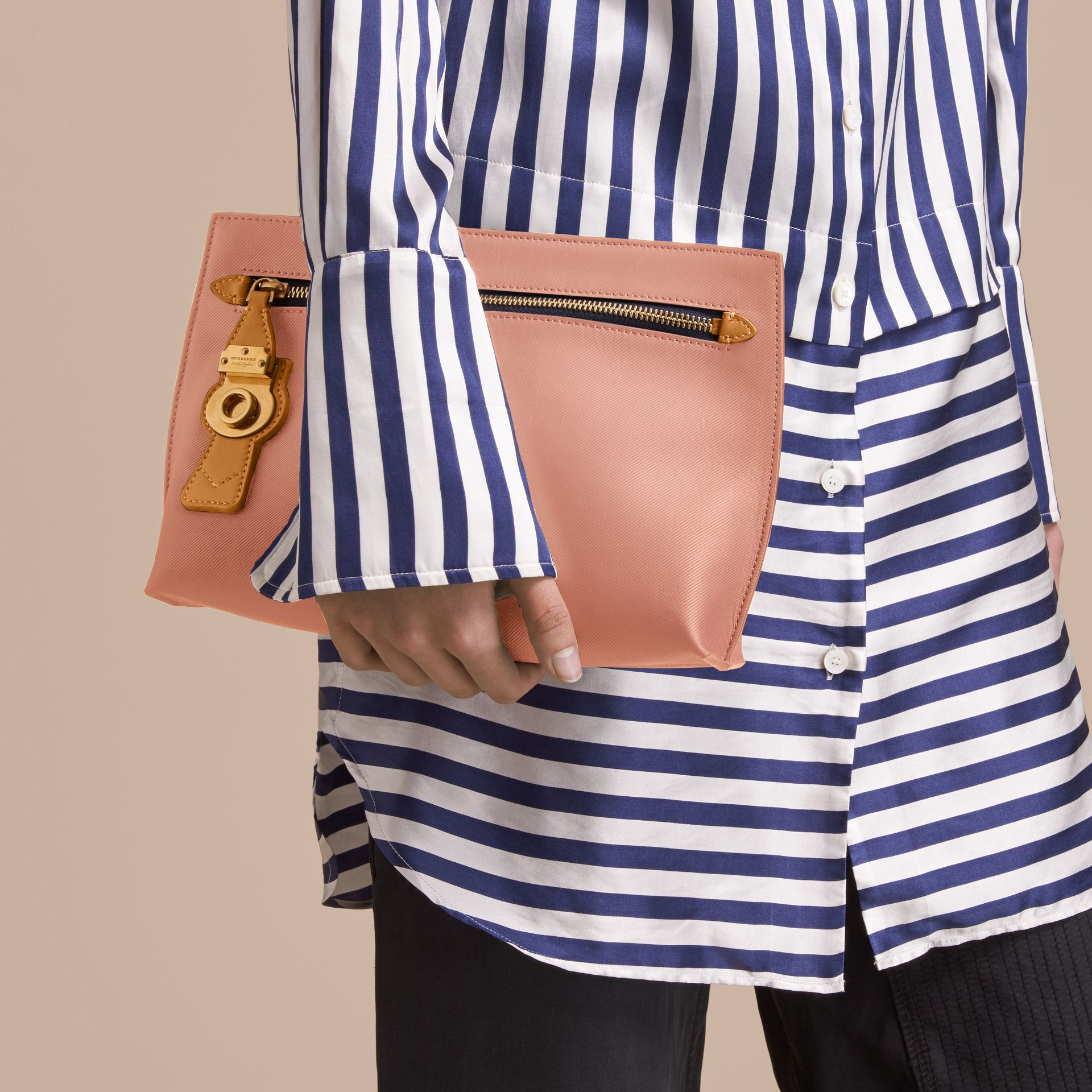 Two-tone Trench Leather Wristlet Pouch Ash Rose/pale Clementine - gallery image 3