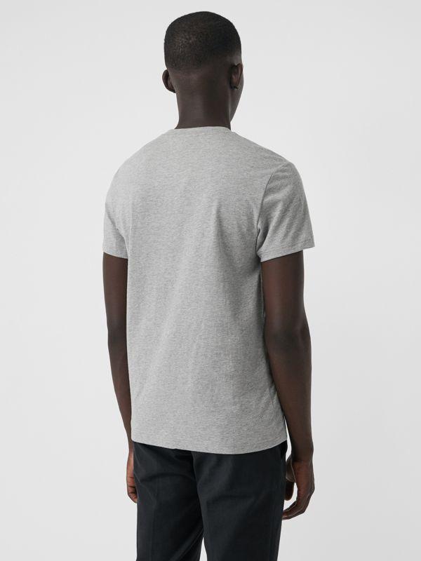 Embroidered Logo Cotton T-shirt in Pale Grey Melange - Men | Burberry Australia - cell image 2