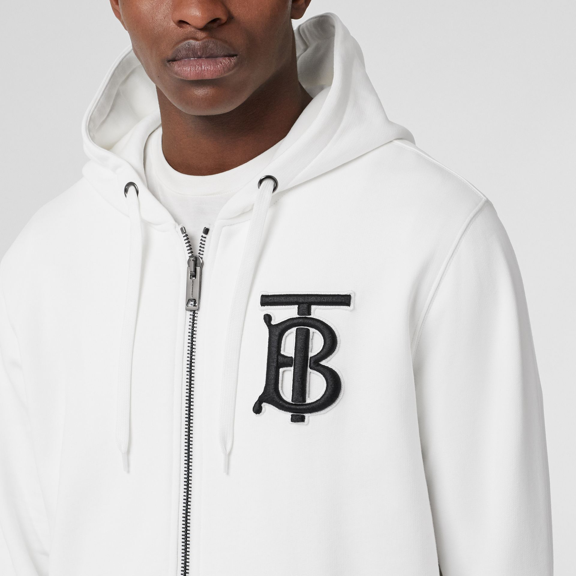 Monogram Motif Cotton Hooded Top in White - Men | Burberry - gallery image 1