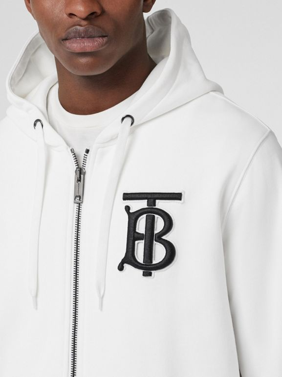 Monogram Motif Cotton Hooded Top in White - Men | Burberry - cell image 1
