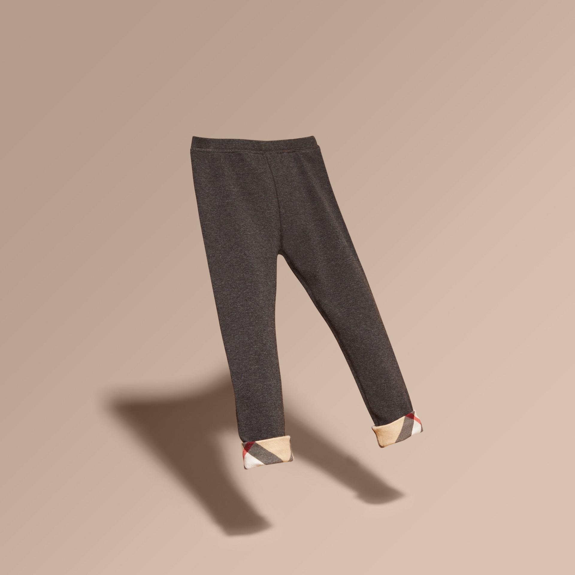 Mid grey melange Stretch Cotton Leggings Mid Grey Melange - gallery image 3