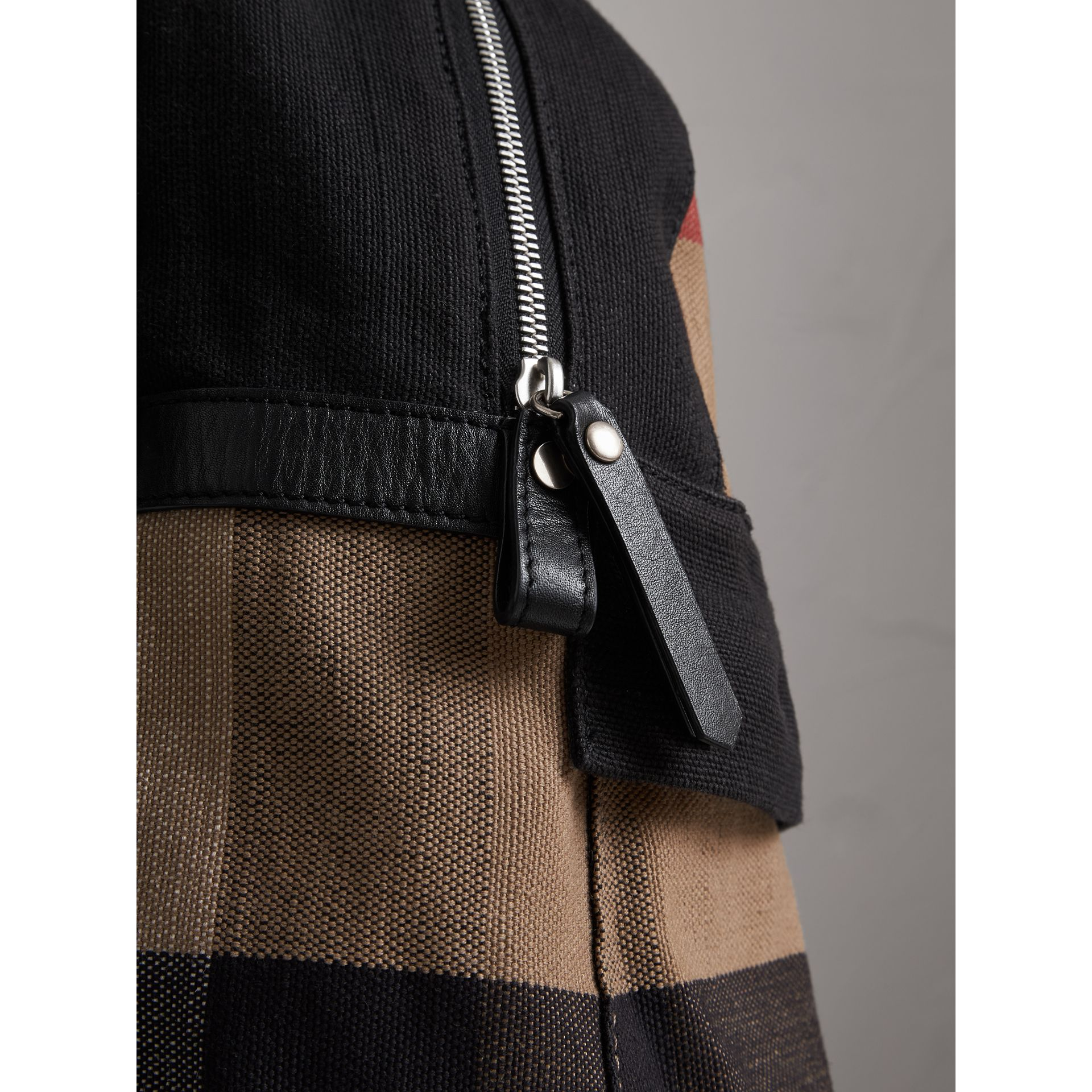 Canvas Check and Leather Backpack in Black | Burberry Australia - gallery image 1