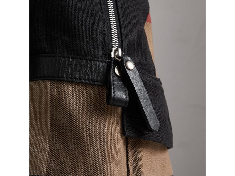 Canvas Check and Leather Backpack in Black | Burberry - cell image 1