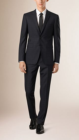 Slim Fit Check Wool Half-canvas Suit