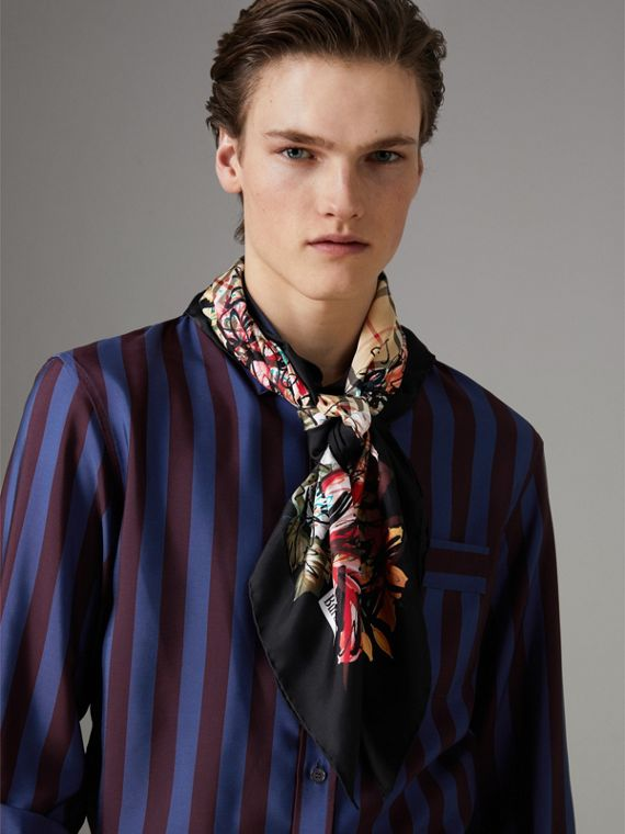 Scribble Floral Vintage Check Silk Square Scarf in Black | Burberry - cell image 3