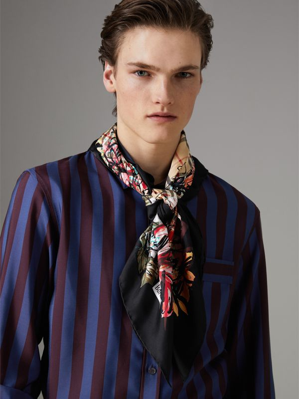 Scribble Floral Vintage Check Silk Square Scarf in Black | Burberry Canada - cell image 3