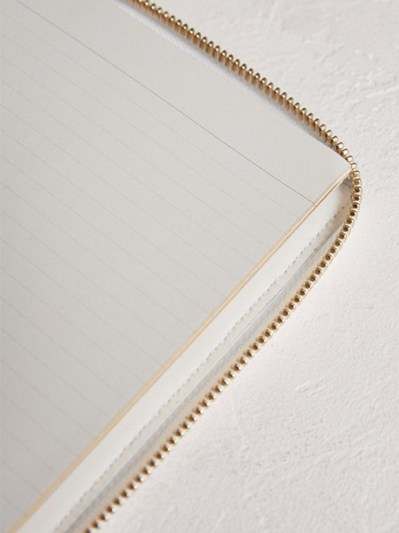 Embossed Grainy Leather Ziparound A6 Notebook Case in Chalk White | Burberry Australia - cell image 3