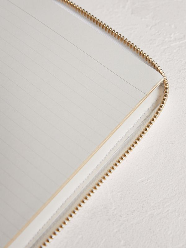 Embossed Grainy Leather Ziparound A6 Notebook Case in Chalk White | Burberry - cell image 3