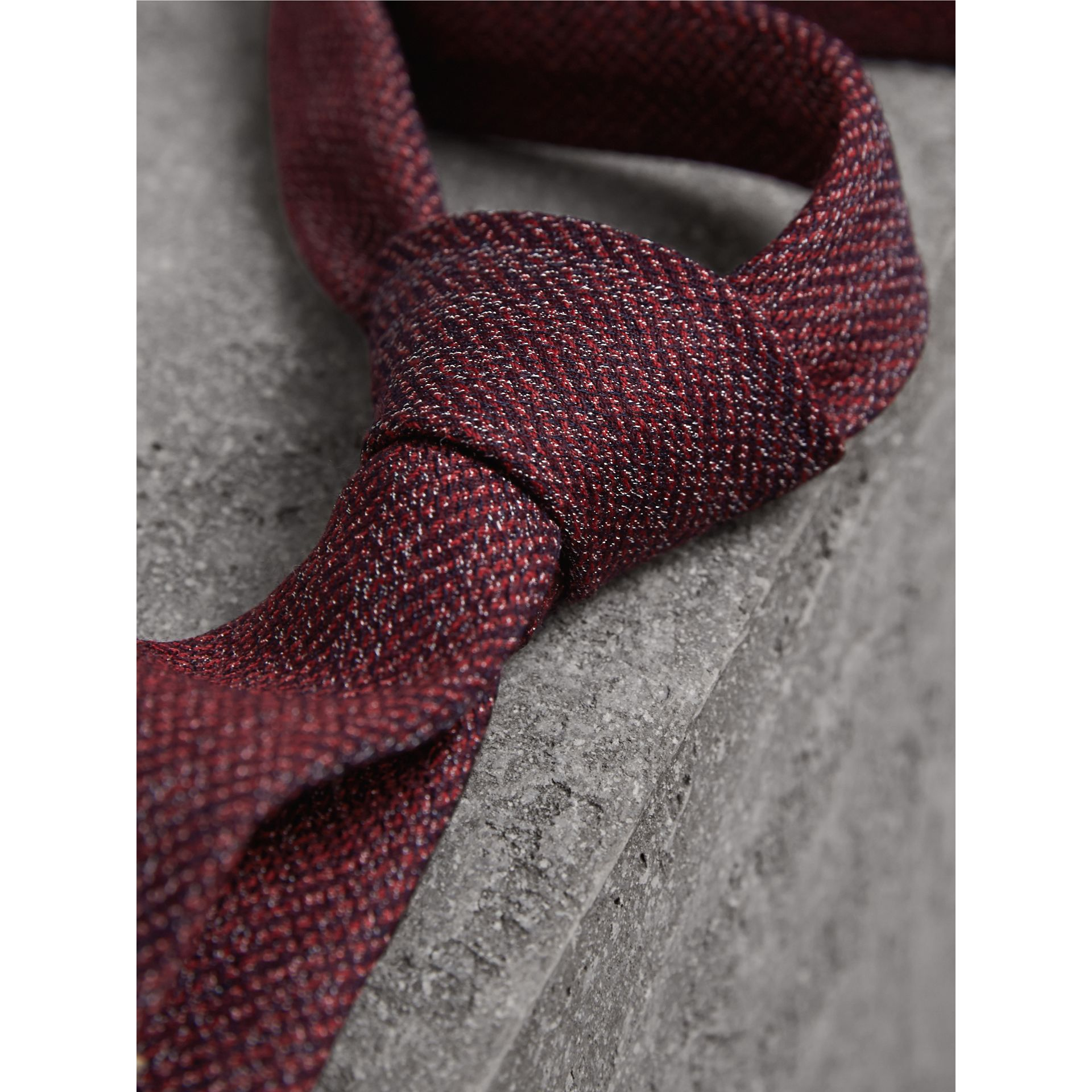 Slim Cut Flecked Silk Tie in Crimson Pink - Men | Burberry Canada - gallery image 2