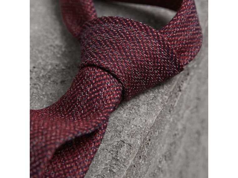 Slim Cut Flecked Silk Tie in Crimson Pink - Men | Burberry Canada - cell image 1