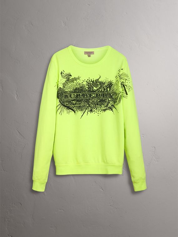 Doodle Print Cotton Sweatshirt in Bright Lemon - Women | Burberry - cell image 3