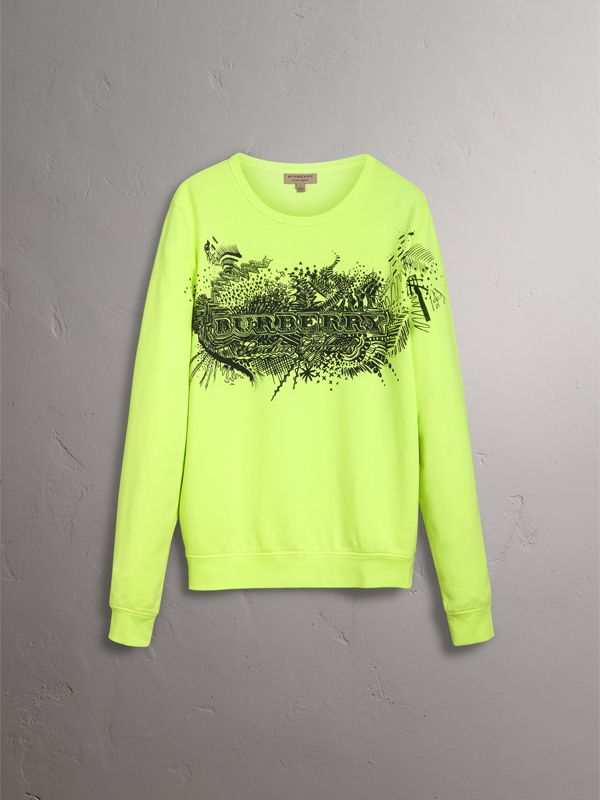 Doodle Print Cotton Sweatshirt in Bright Lemon | Burberry - cell image 3