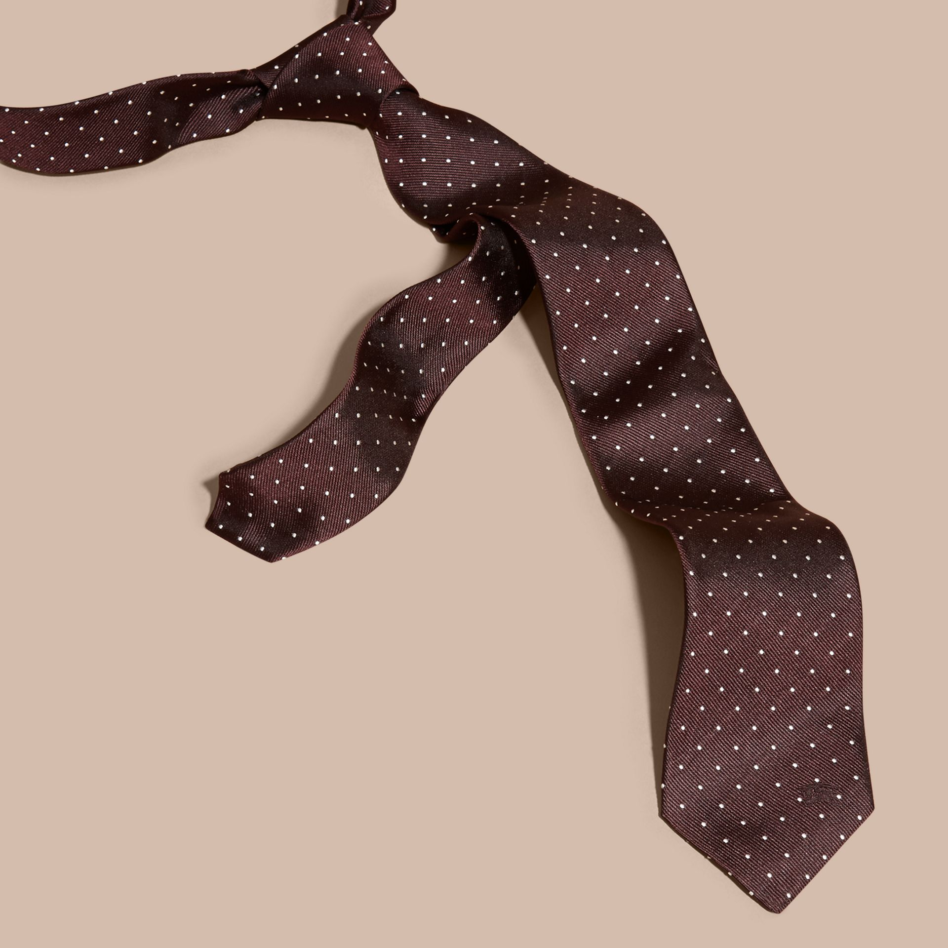 Claret Modern Cut Polka Dot Silk Twill Tie - gallery image 1
