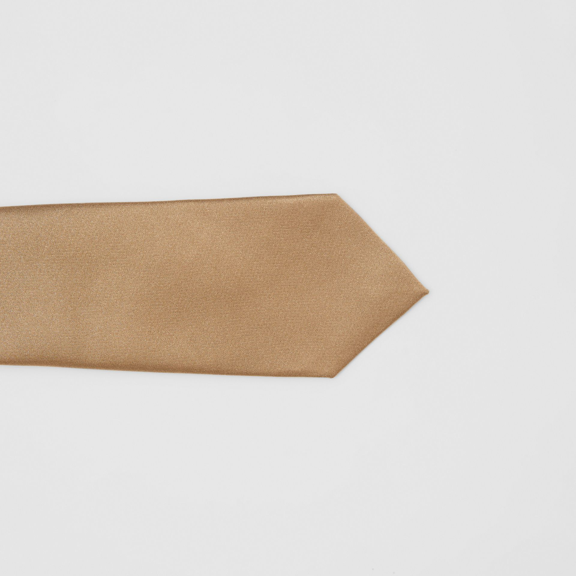 Logo Label Classic Cut Silk Tie in Light Fawn - Men | Burberry United Kingdom - gallery image 1