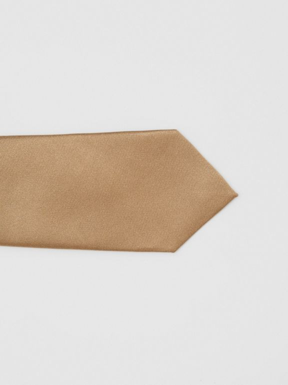 Logo Label Classic Cut Silk Tie in Light Fawn - Men | Burberry United Kingdom - cell image 1