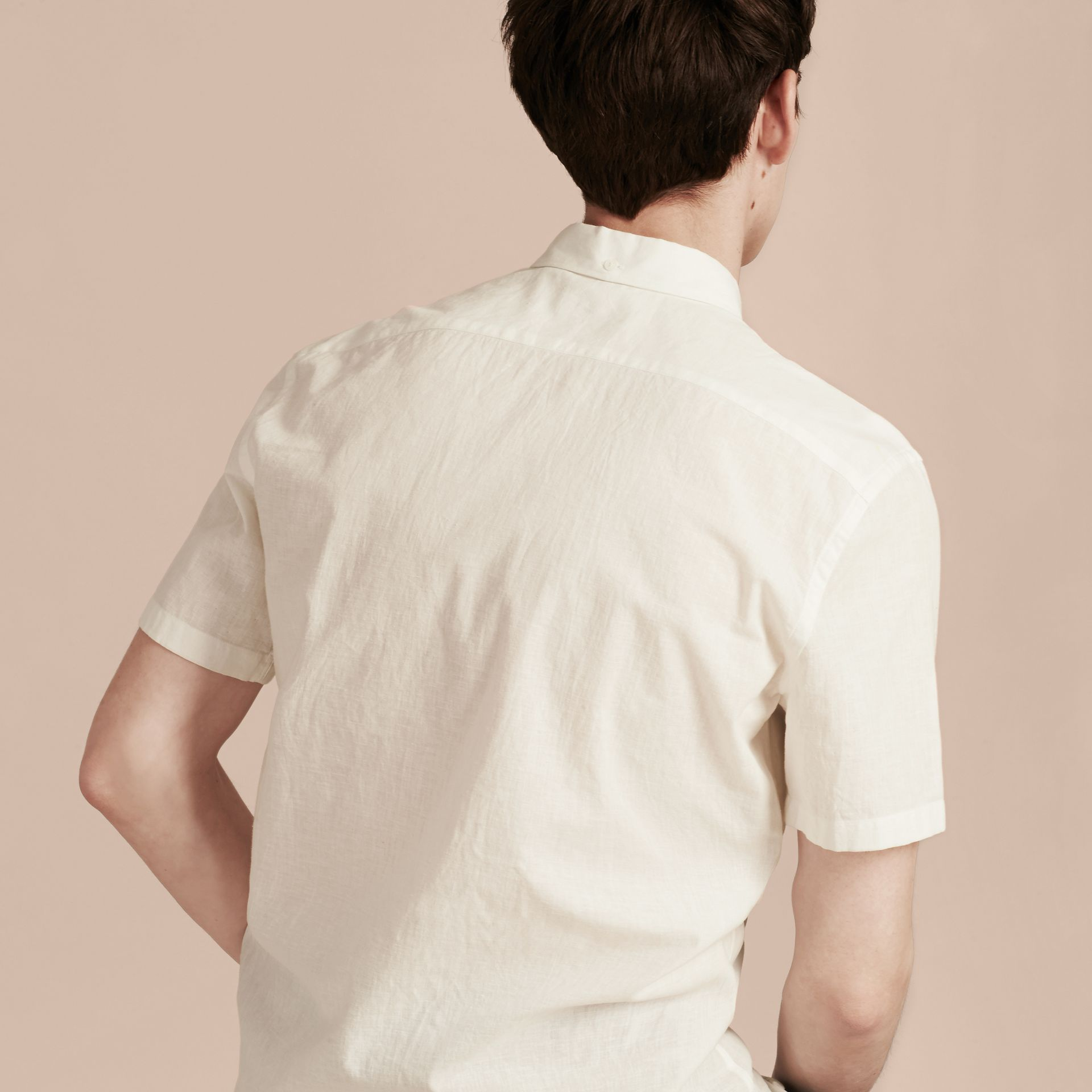 White Short-sleeved Stretch Cotton Poplin Shirt White - gallery image 3